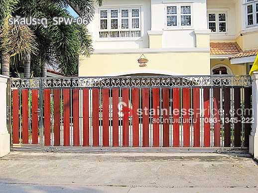 ประตูรั้วสแตนเลสผสมไม้ 06