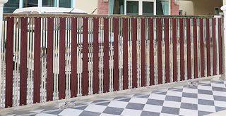 ประตูรั้วสแตนเลสผสมอลูมิเนียมลายไม้